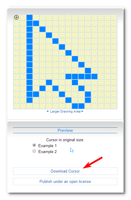 graphic transparent Create and set custom cursor