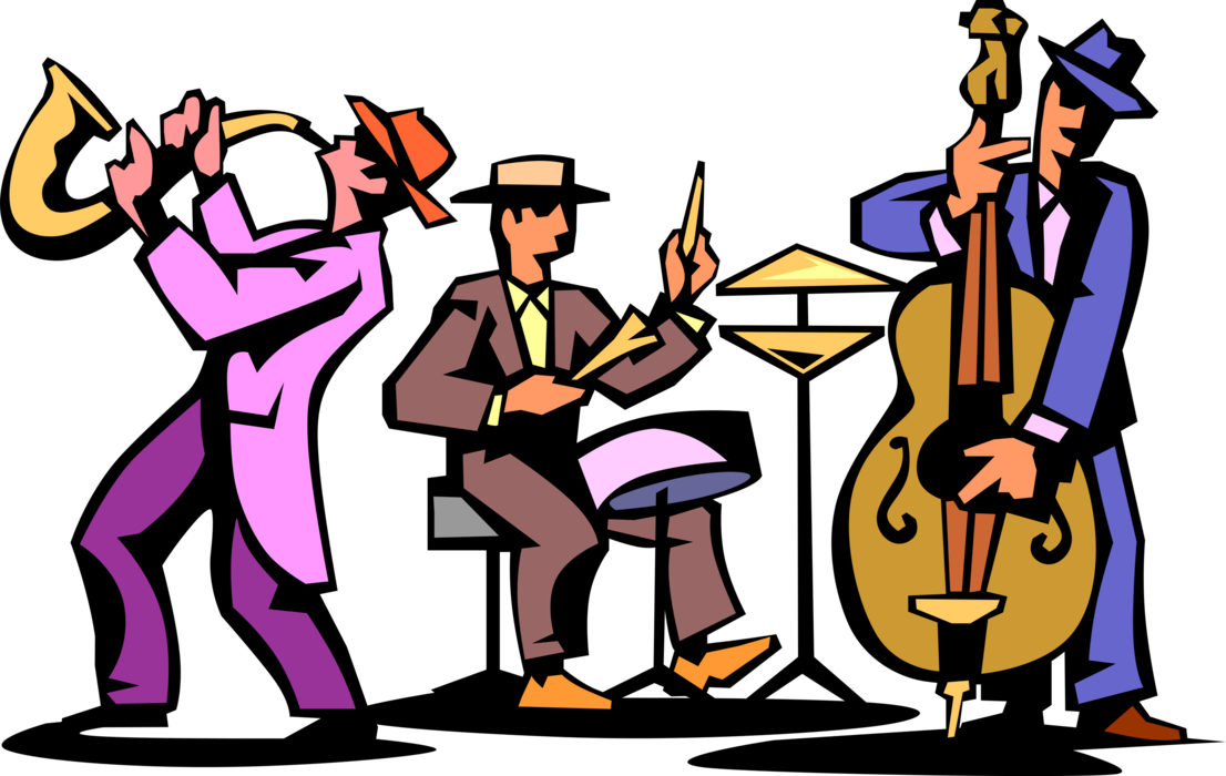 jpg black and white stock Trio play saxophone drum. Vector band jazz