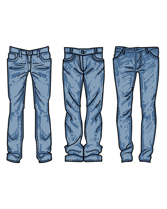 clip freeuse download Jeans clipart. Hand drawn fashion collection.