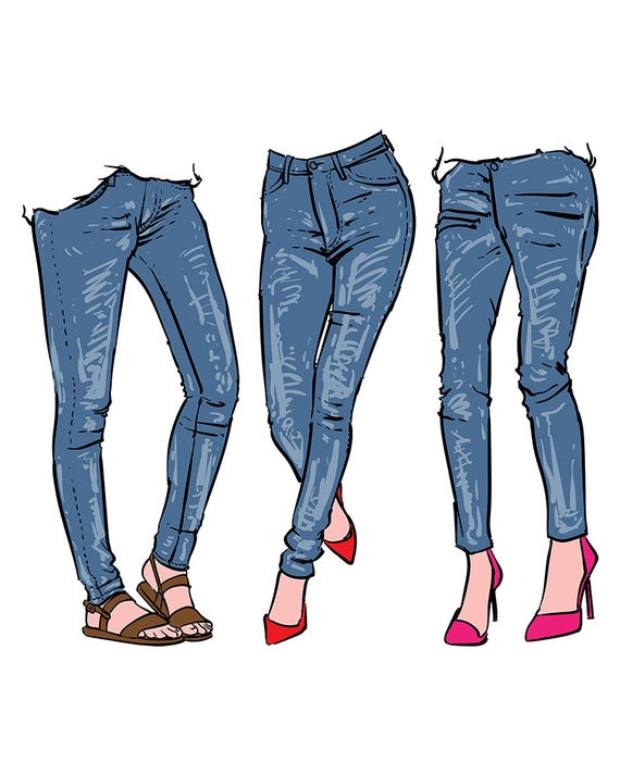 picture black and white stock Hand drawn women s. Jeans clipart.