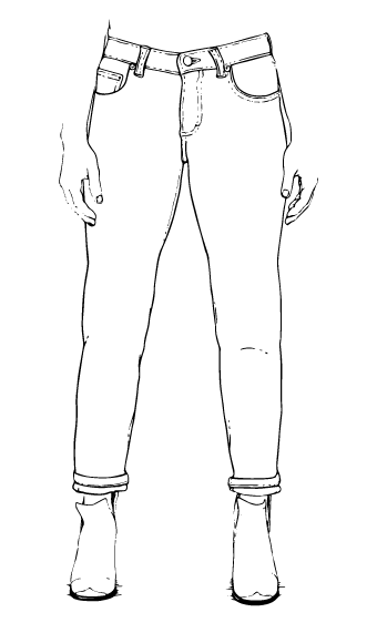 clipart black and white Jeans Drawing at GetDrawings