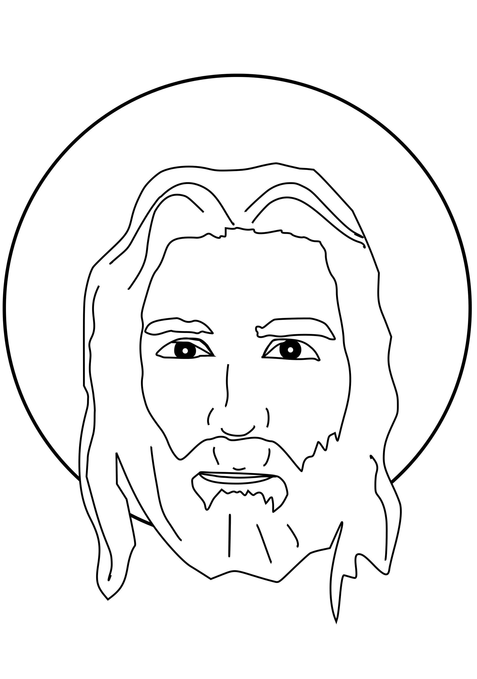 black and white stock jesus svg drawing #98351309