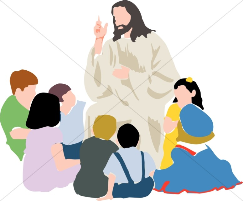 jpg library download Jesus teaching clipart. Kids in a circle.