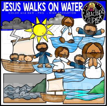 image royalty free download Walks clip art set. Jesus walking on water clipart