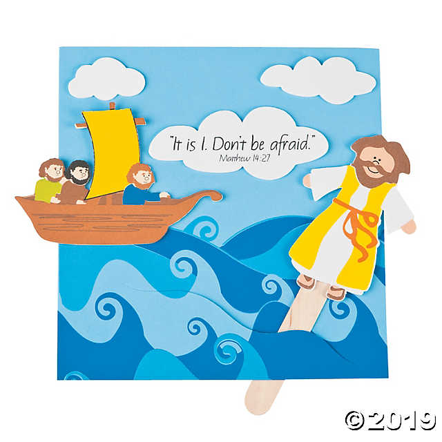 graphic black and white download Jesus walking on water clipart. Walks craft kit