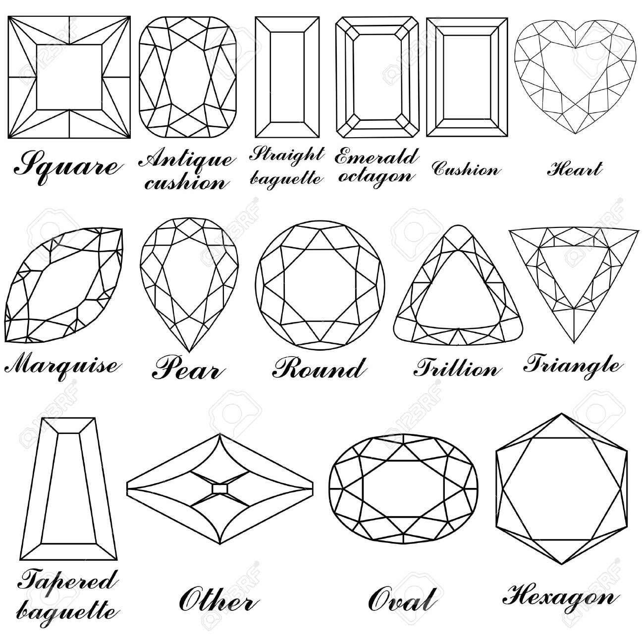 jpg faceted jewel line drawing