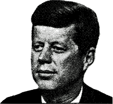 black and white President of the united. Jfk drawing side view