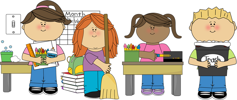image black and white Student roles . Clean up classroom clipart.