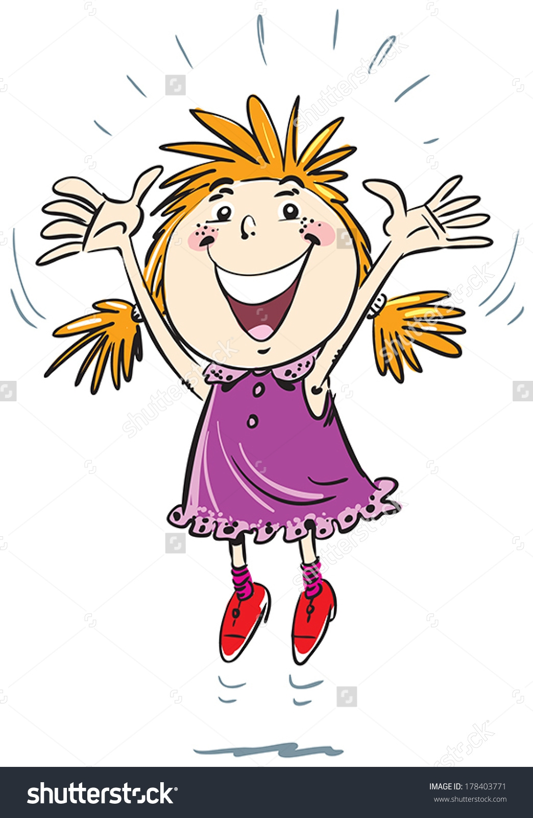 vector library Joy clipart. Luxury girl jumping for