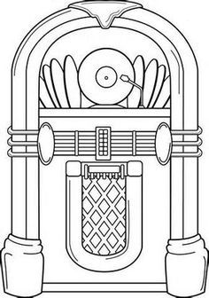 royalty free download Jukebox clipart black and white. Template of a verizon