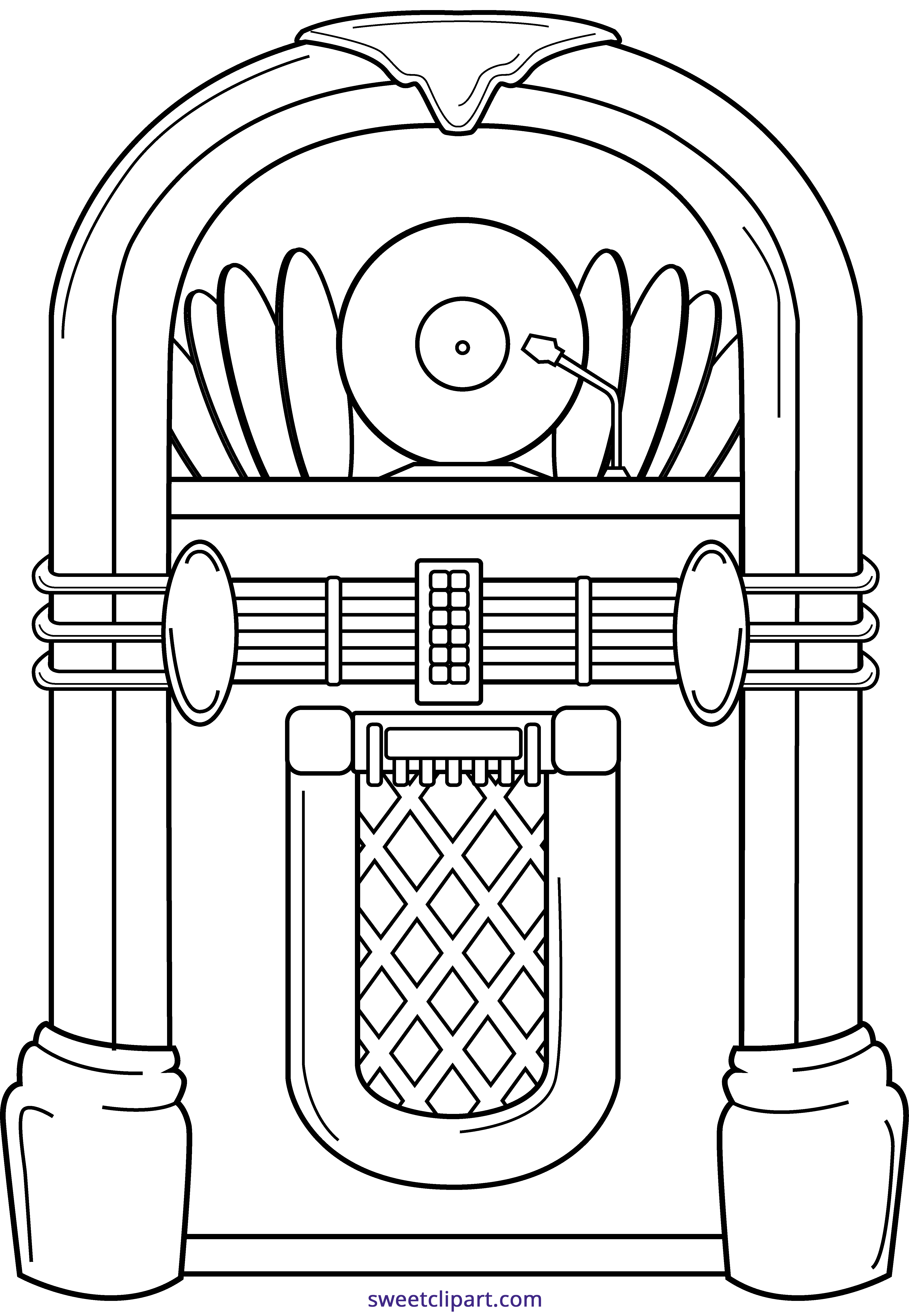 clipart transparent library Jukebox clipart black and white. Line art sweet clip