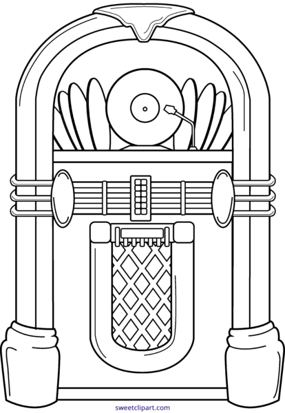 banner transparent download Jukebox clipart black and white. All clip art archives