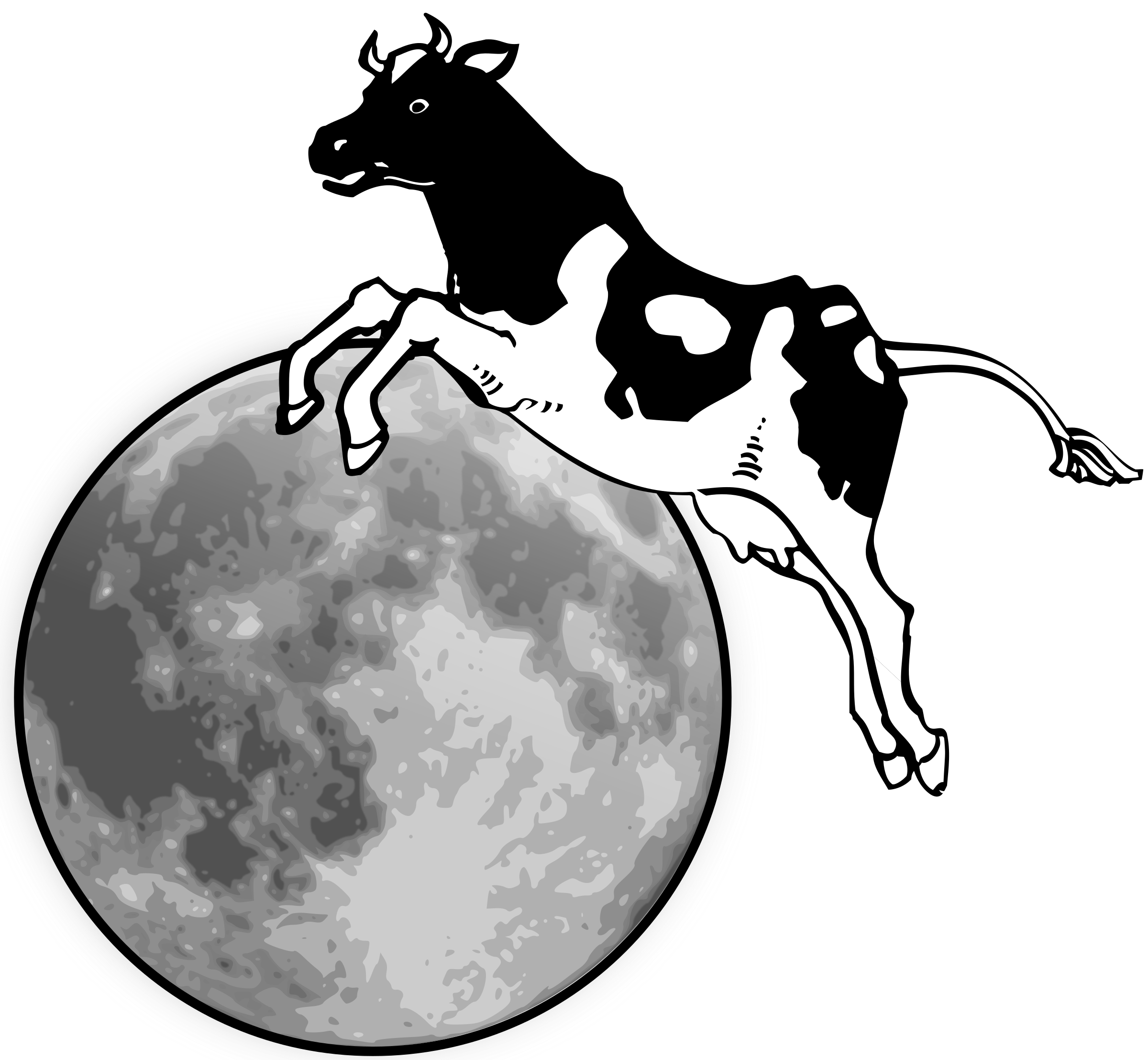 clipart free The cow jumps over. Clipart moon black and white