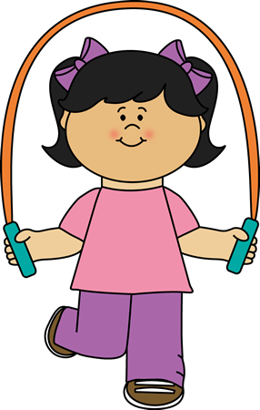 image royalty free stock Learn clipart girl. Playing with jump rope.
