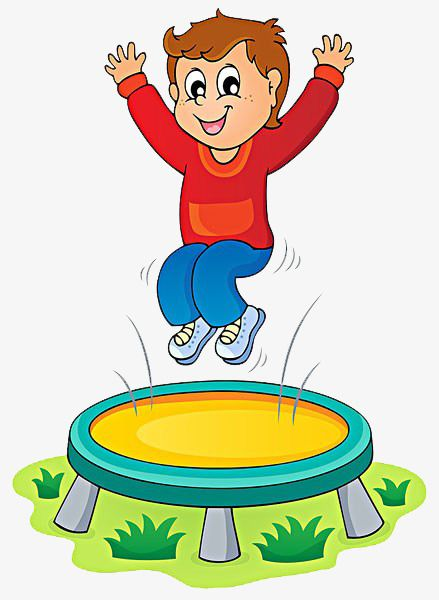 clipart stock Child trampoline happy png. Jumping clipart.