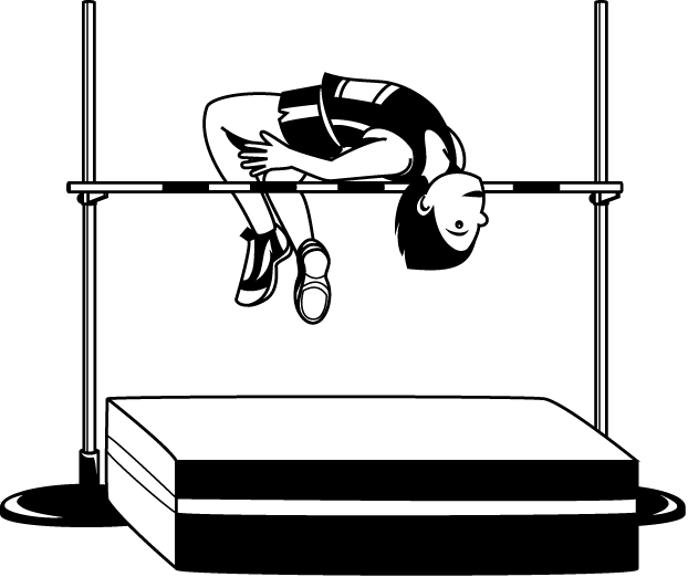 image black and white stock High jump track field. Jumping clipart athletics