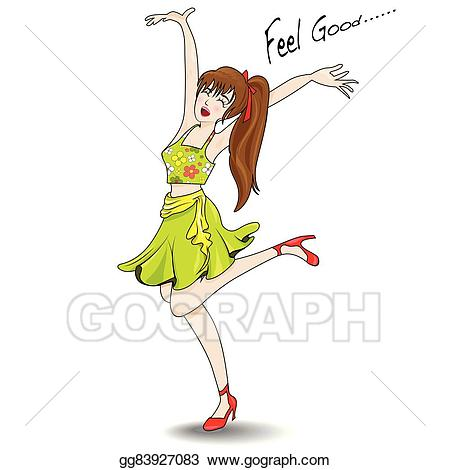 vector black and white stock Vector illustration woman happily. Jumping clipart feel good