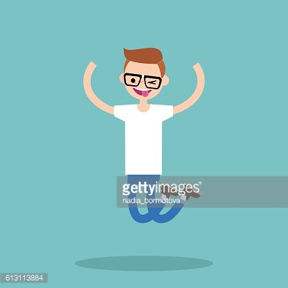 clip art free library Jumping clipart nerd. Young winking boy premium