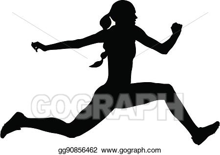 clipart royalty free Vector woman athlete . Jumping clipart triple jump.