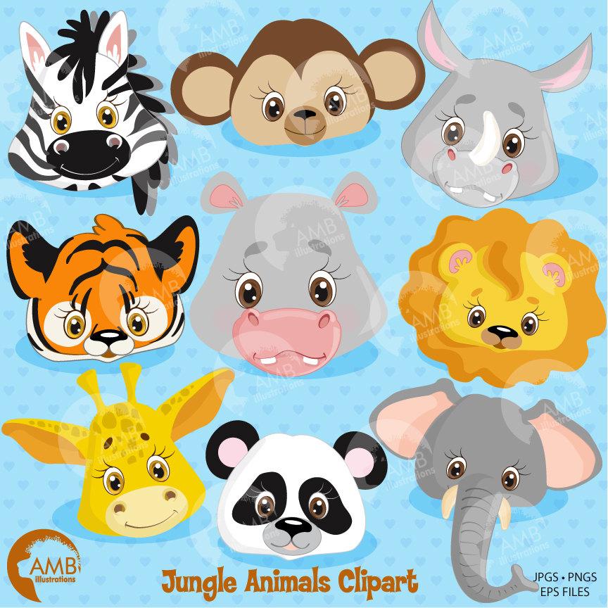 clipart black and white library Animals faces lion tiger. Jungle animal clipart