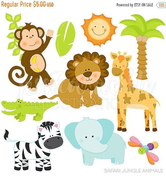 royalty free stock Jungle animal clipart. Sale safari animals cute