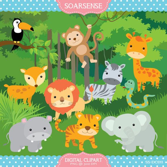 clip royalty free library Animals plants disney . Jungle clipart.