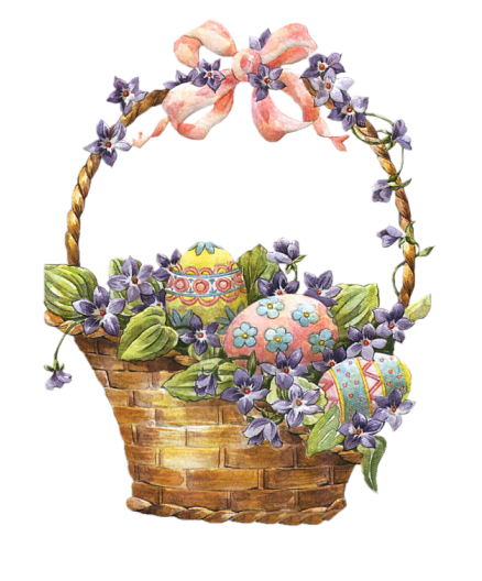 picture freeuse library Easter Basket with Eggs Clipart
