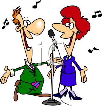 banner freeuse library Cartoon of a duet. Karaoke singing clipart.