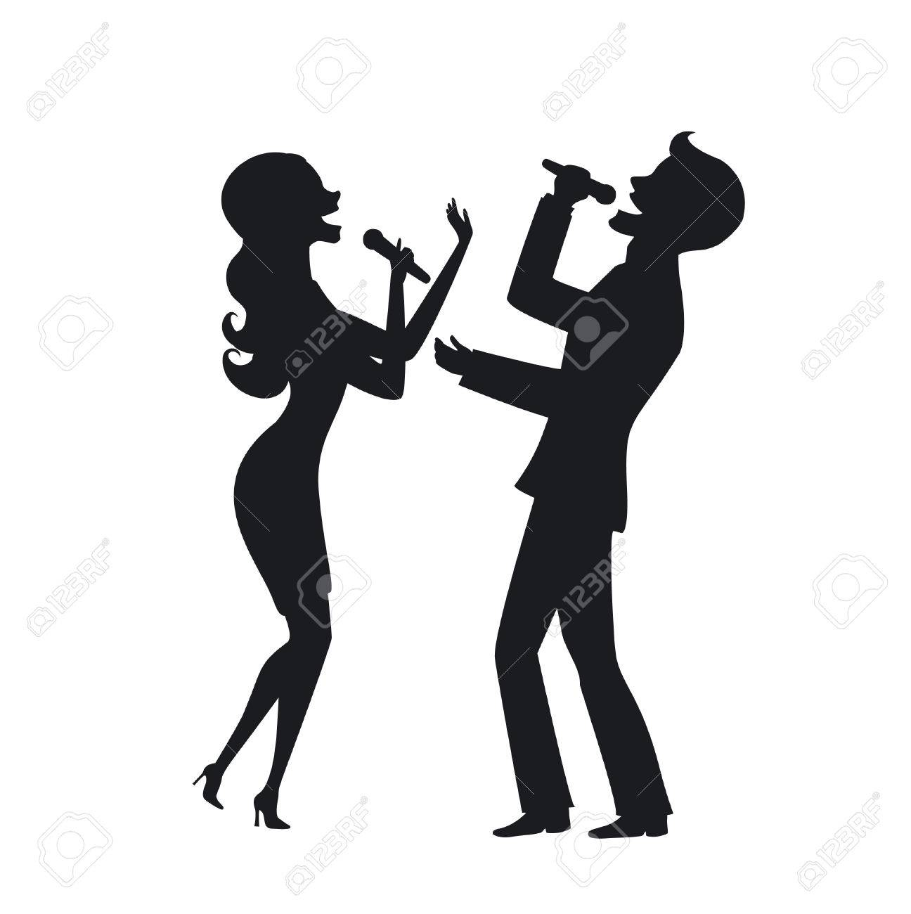 png freeuse download Elegant couple on stage. Karaoke singing clipart.