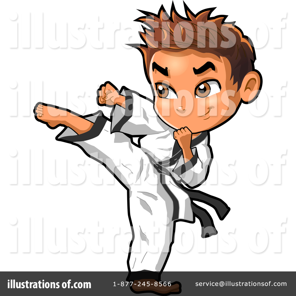 picture black and white library Illustration by clip art. Karate clipart person.