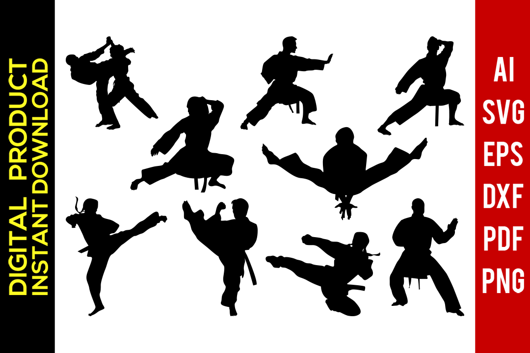 png free stock Karate clipart svg. Martial arts art silhouette