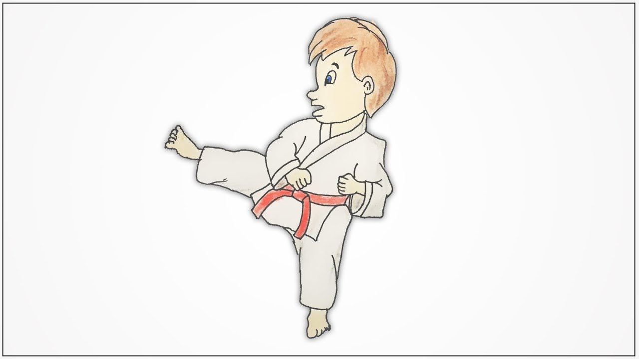 clipart black and white library Karate drawing. How to draw a
