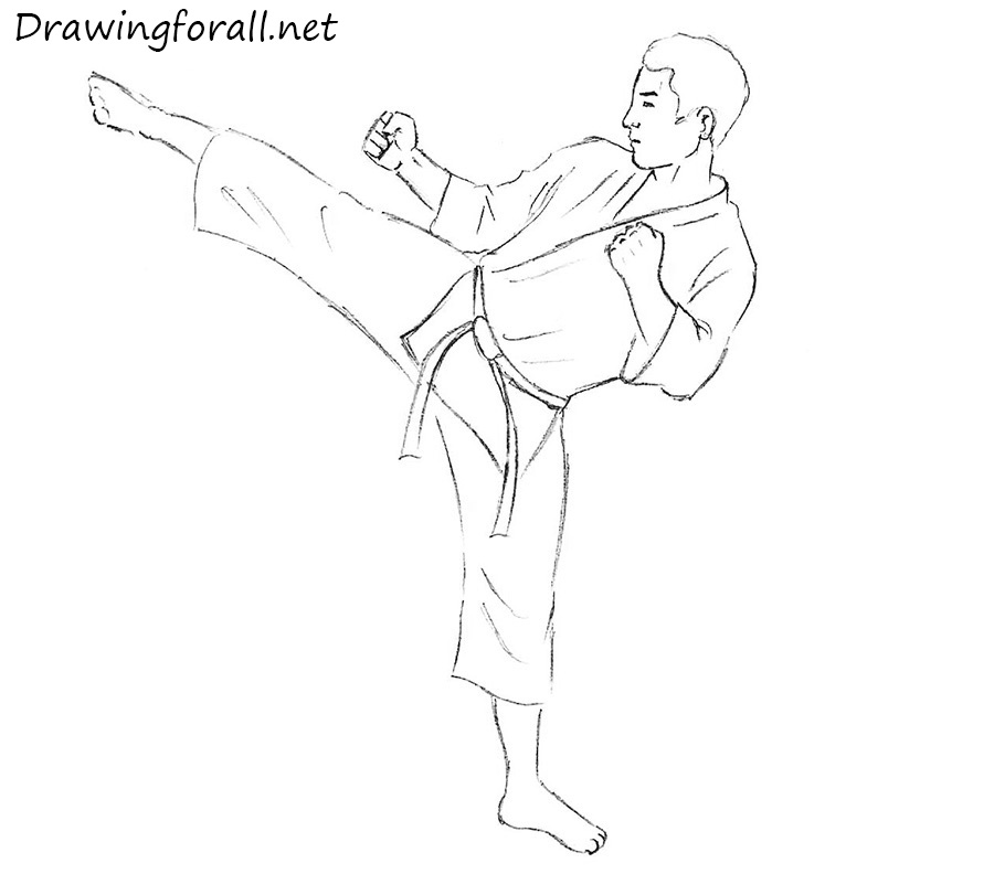 clip art royalty free Karate drawing. How to draw a