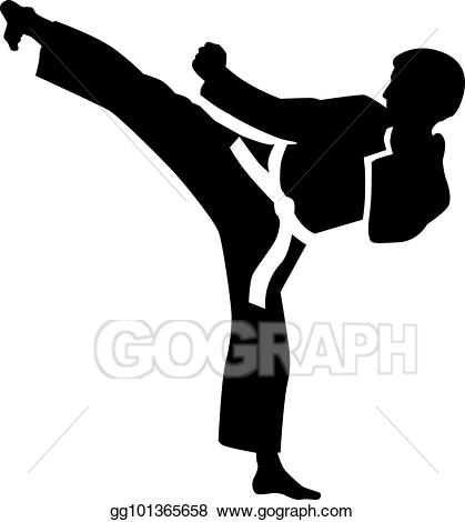 jpg free stock Vector illustration eps gg. Karate kick clipart.