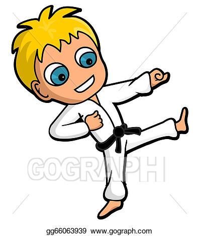 clip transparent stock Karate kid clipart. Vector stock illustration gg