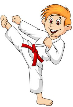 black and white stock Karate kid clipart. Free download best