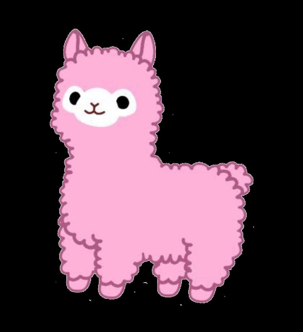 jpg black and white stock Llama sticker redbubble clip. Kawaii clipart alpaca