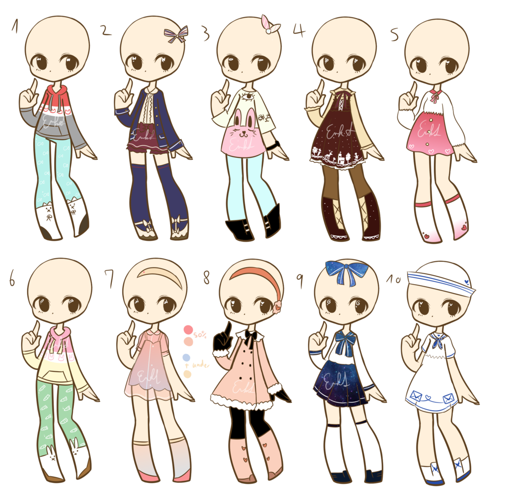 transparent library Outfit adopts batch closed. Drawing outfits
