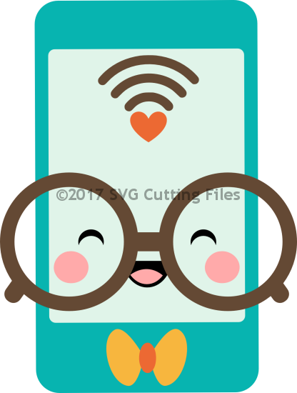 svg download Kawaii Nerdy Smart Phone