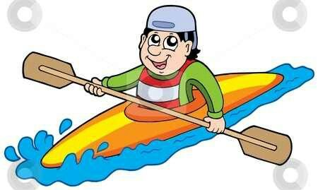 clip art royalty free library Kayaking clipart. August cartoon images