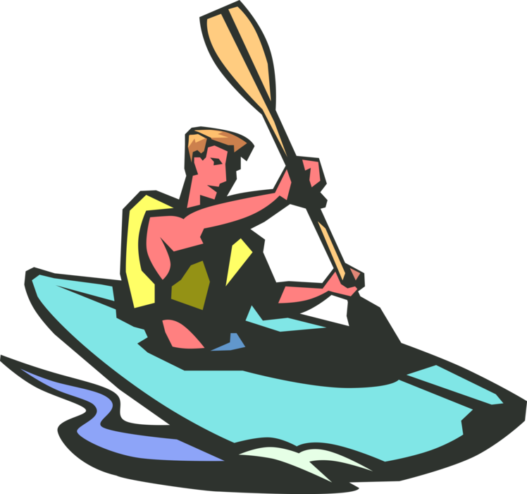 svg library library Kayaker kayaks rapids with. Kayaking clipart paddle boat