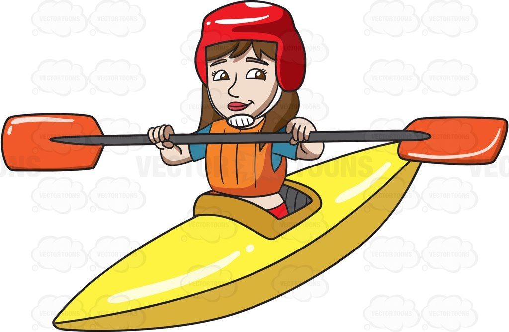 picture transparent download Kayaking clipart kayak girl. A woman paddling cartoon.