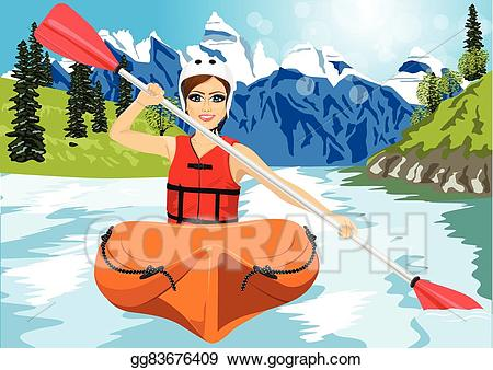 clip art free Eps illustration with paddle. Kayaking clipart kayak girl.