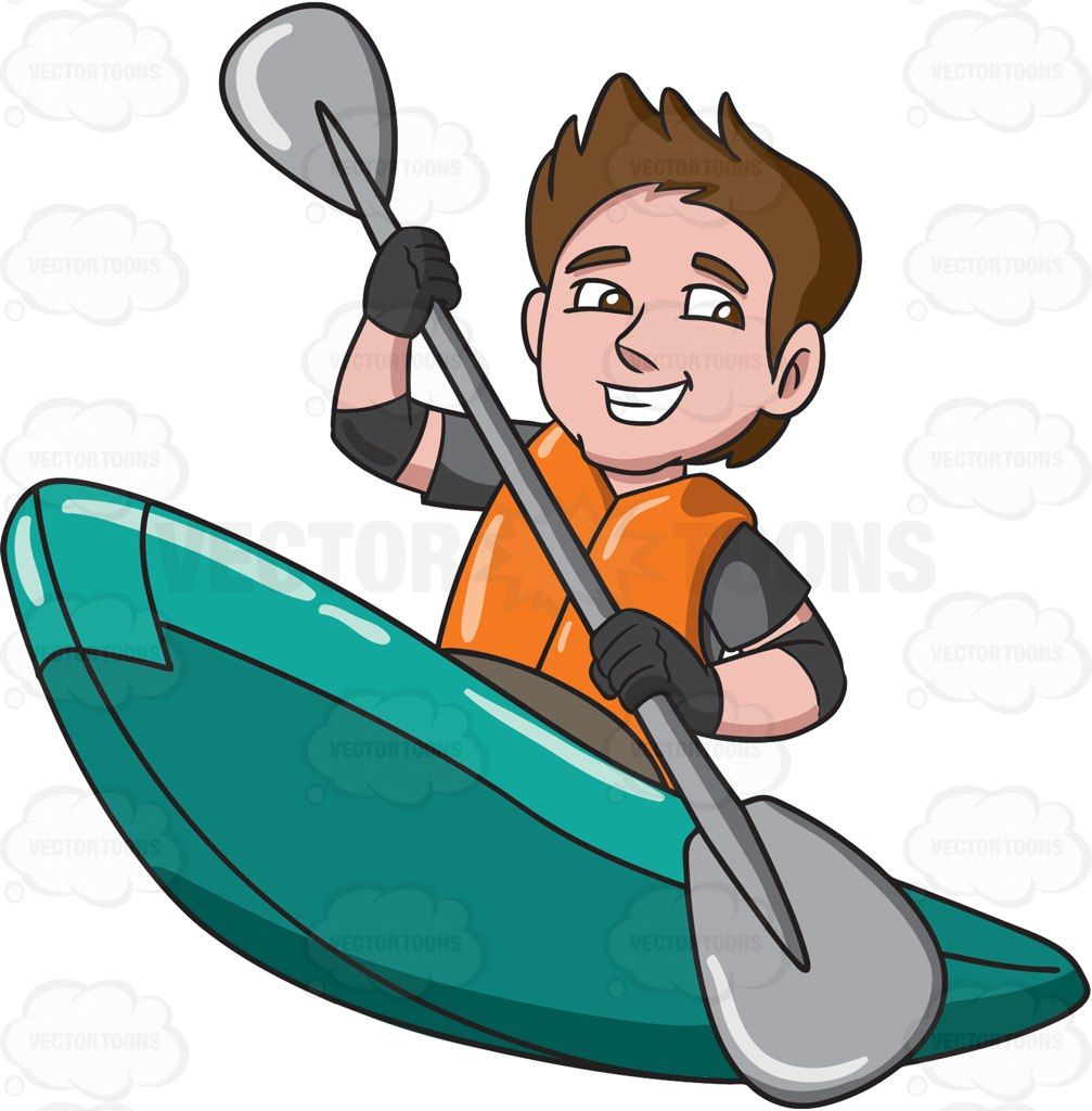 clipart royalty free library Kayaking clipart paddle boat. A man enjoying his