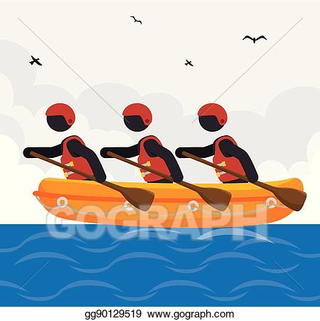 jpg Kayaking clipart rafting. Eps illustration team design