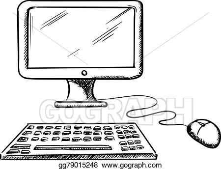 jpg free stock Vector art desktop computer. Keyboard and mouse clipart