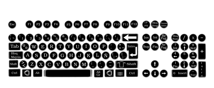 vector transparent stock Keyboard keys clipart. Vintage round by pendragon