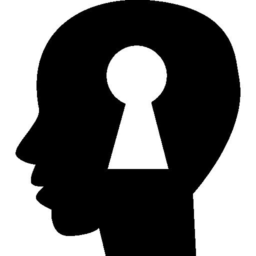 vector royalty free stock Keyhole shape inside a human bald head side view silhouette