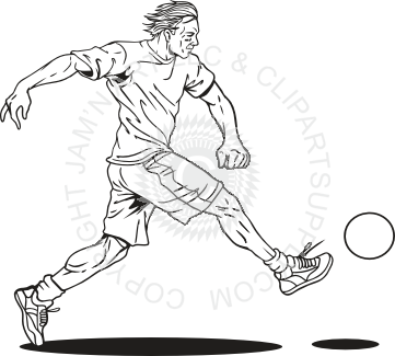 vector Man kicking ball . Kickball clipart black and white
