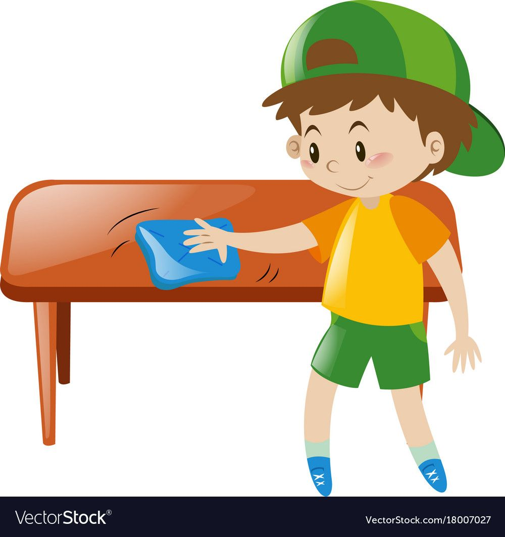 clip freeuse Little boy cleaning table. Kid dusting clipart